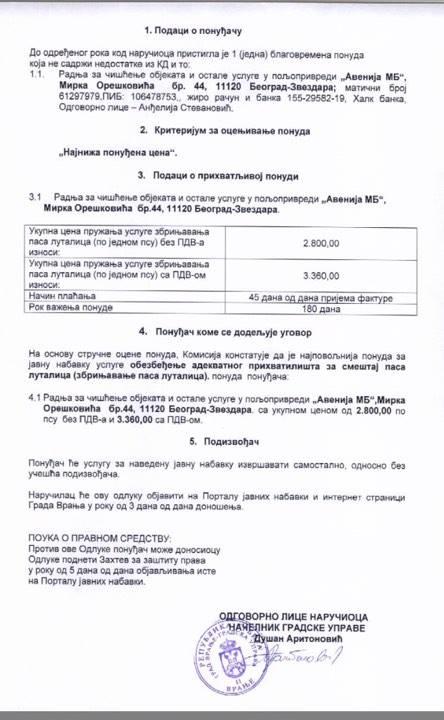 vranje cene ugovor feb 2018